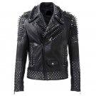 Men motorbike fashion style full body gothic silver studded black leather jacket SIze s