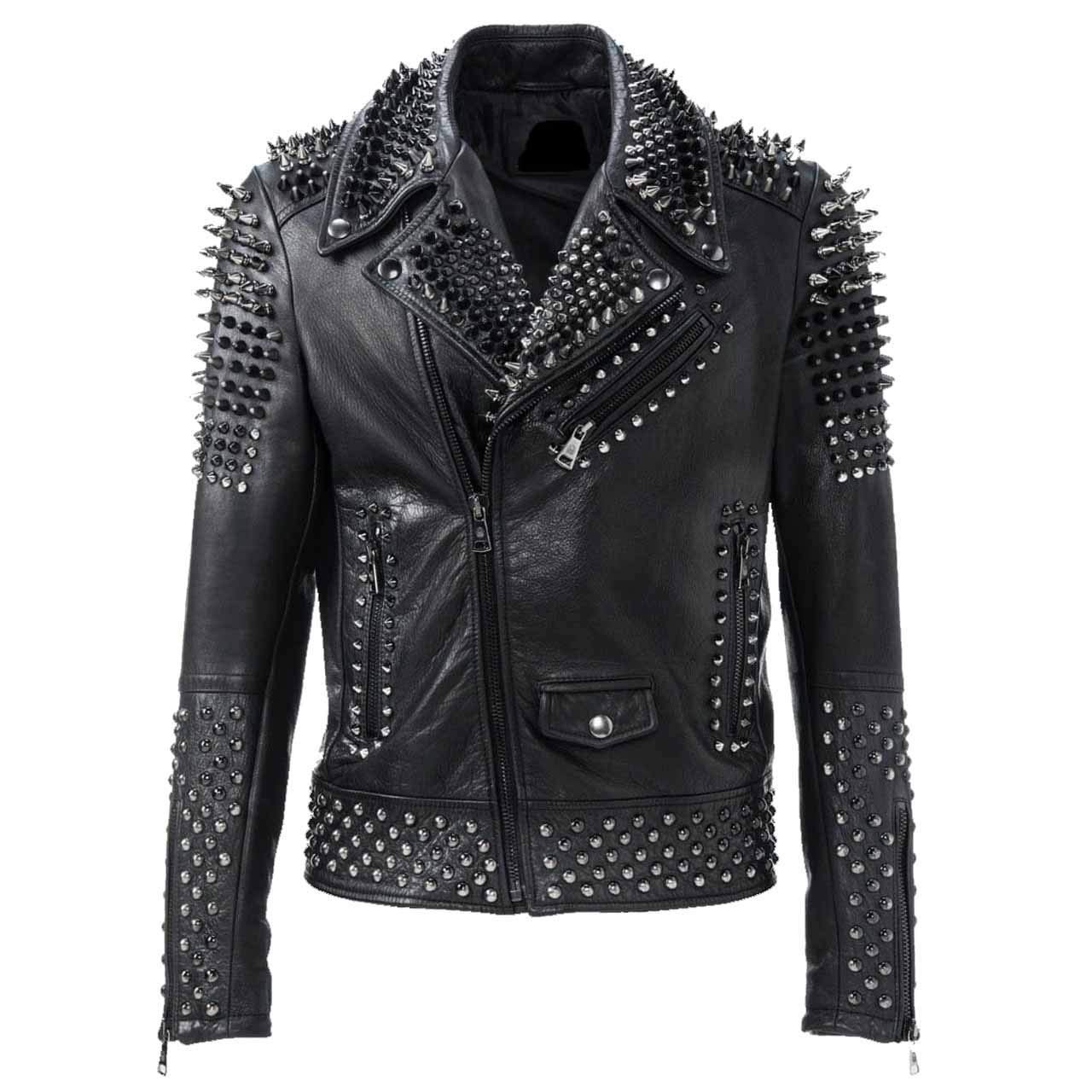 Men motorbike fashion style full body gothic silver studded black leather jacket SIze xs