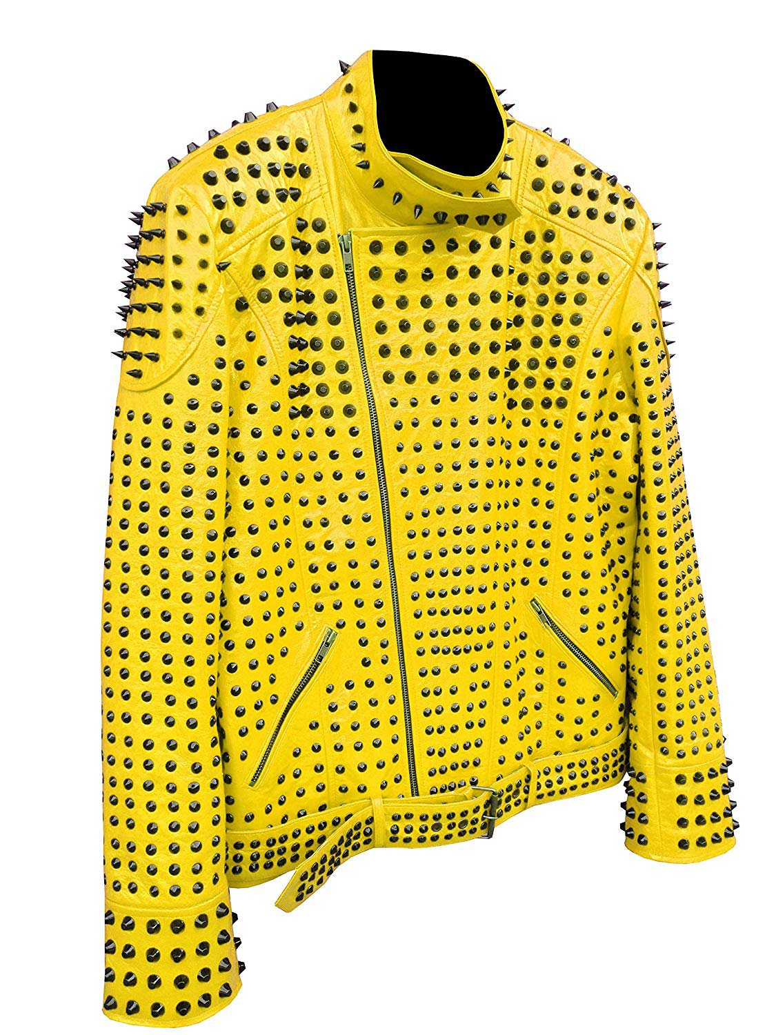 Men motorbike fashion style full body gothic silver studded yellow leather jacket SIze l