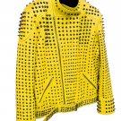 Men motorbike fashion style full body gothic silver studded yellow leather jacket SIze 5xl