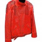 Men motorbike fashion style full body gothic studded red leather jacket SIze xl