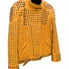 Men motorbike fashion style full body gothic studded brown leather jacket SIze s