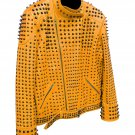 Men motorbike fashion style full body gothic studded brown leather jacket SIze 3xl