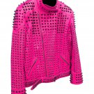 Men motorbike fashion style full body gothic studded pink leather jacket SIze s