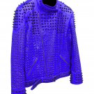 Men motorbike fashion style full body gothic studded blue leather jacket SIze xl