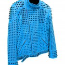 Men motorbike fashion style full body gothic studded blue leather jacket SIze 5xl