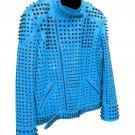 Men motorbike fashion style full body gothic studded blue leather jacket SIze 2xl