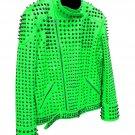 Men motorbike fashion style full body gothic studded green leather jacket SIze xl