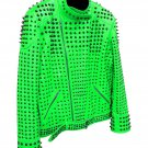 Men motorbike fashion style full body gothic studded green leather jacket SIze 5xl