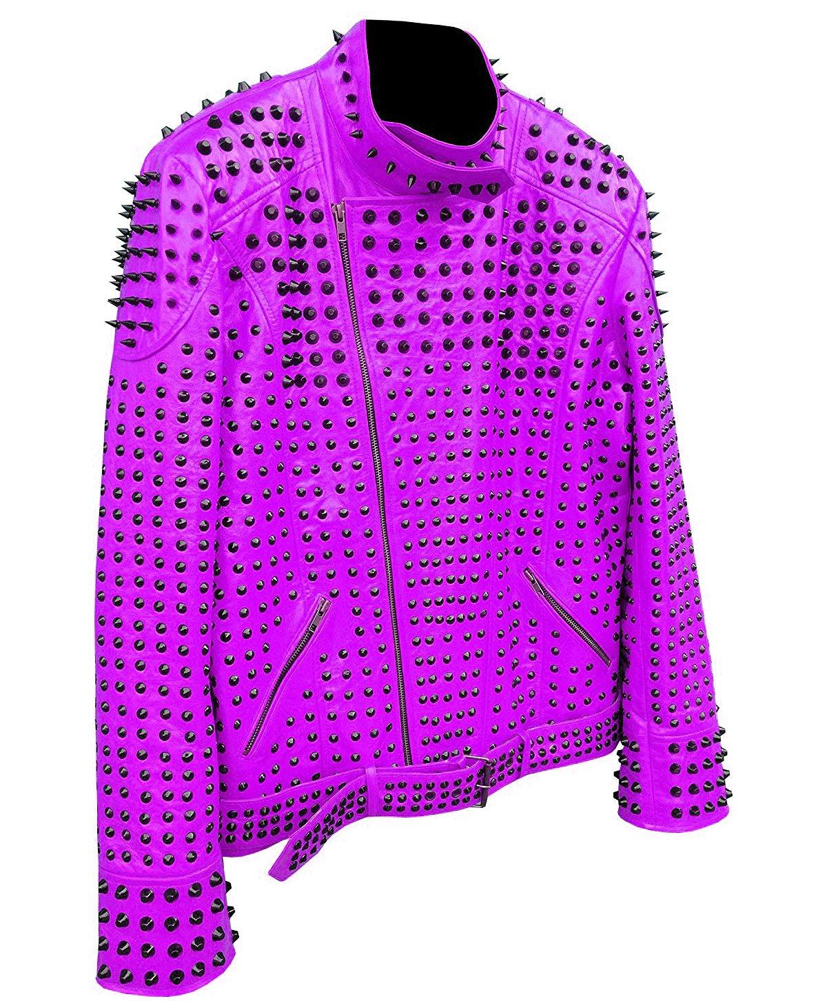 Men motorbike fashion style full body gothic studded purple leather jacket SIze 3xl