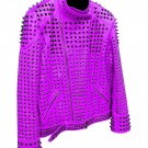 Men motorbike fashion style full body gothic studded purple leather jacket SIze 3xl