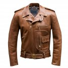 NEW MEN,S BROWN STYLE FASHION LEATHER MOTORCYCLE JACKET ART NO 23897 SIZE XS