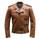 NEW MEN,S BROWN STYLE FASHION LEATHER MOTORCYCLE JACKET ART NO 23897 SIZE 2XL