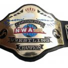 NWA CONTINENTAL HEAVYWEIGHT WRESTLING CHAMPIONSHIP BELT BLACK LEATHER STRAP ADULT SIZE