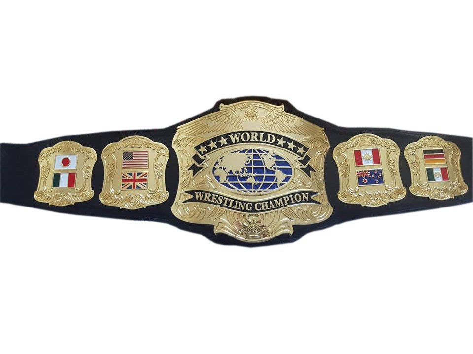 WORLD WRESTLING CHAMPIONSHIP BELT BLACK LEATHER STRAP ADULT SIZE