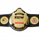 ECW TELEVISION WORLD WRESTLING CHAMPIONSHIP BELT BLACK LEATHER STRAP ADULT SIZE