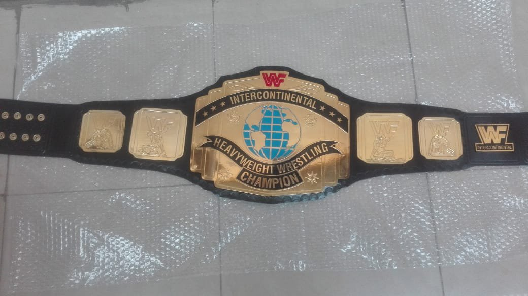 INTERCONTINENTAL WRESTLING CHAMPIONSHIP BELT Black LEATHER STRAP