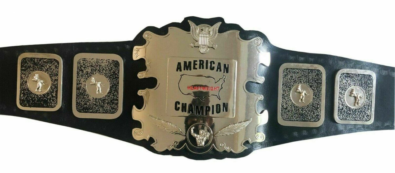 AMERICAN STYLE 70,S TITLE HEAVYWEIGHT WRESTLING CHAMPIONSHIP BELT BLACK LEATHER STRAP ADULT SIZE
