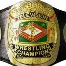 NWA TELEVISION WRESTLING CHAMPIONSHIP BELT BLACK LEATHER STRAP ADULT SIZE
