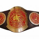 SOUTHERN HEAVYWEIGHT WRESTLING CHAMPIONSHIP RED COMBINATION BELT BLACK LEATHER STRAP ADULT SIZE