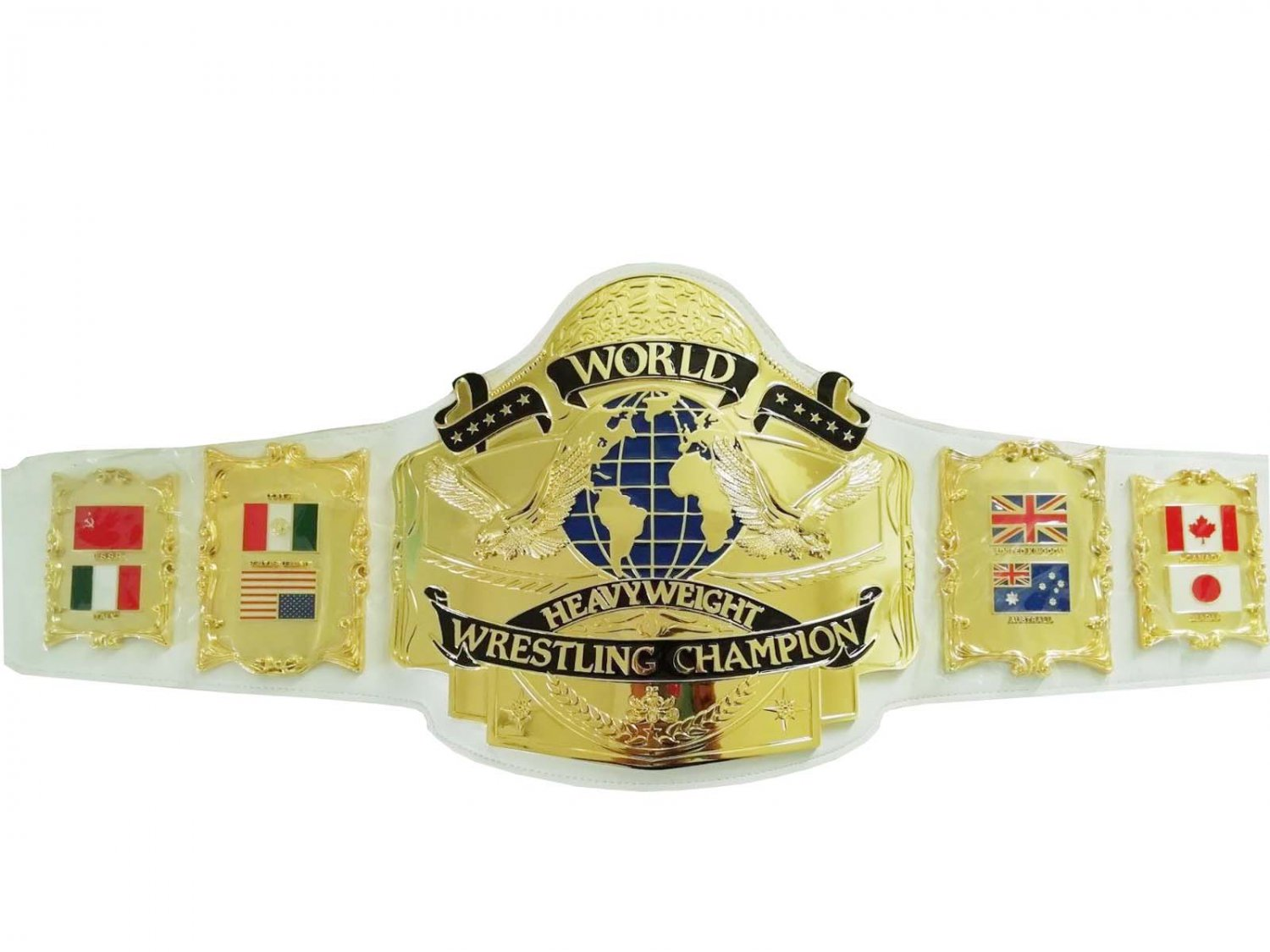 ANDRE 87 WORLD HEAVYWEIGHT WRESTLING CHAMPIONSHIP BELT WHITE LEATHER STRAP ADULT SIZE