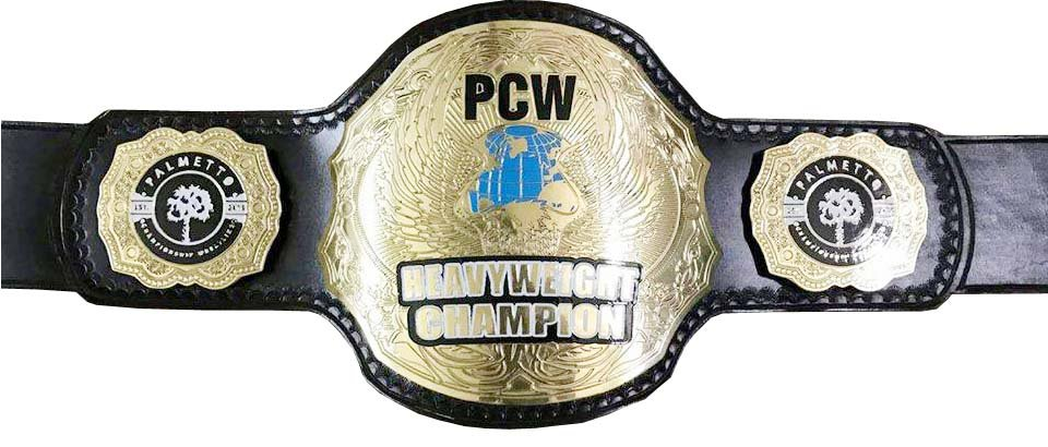 PCW HEAVYWEIGHT WRESTLING CHAMPIONSHIP BELT Black LEATHER STRAP