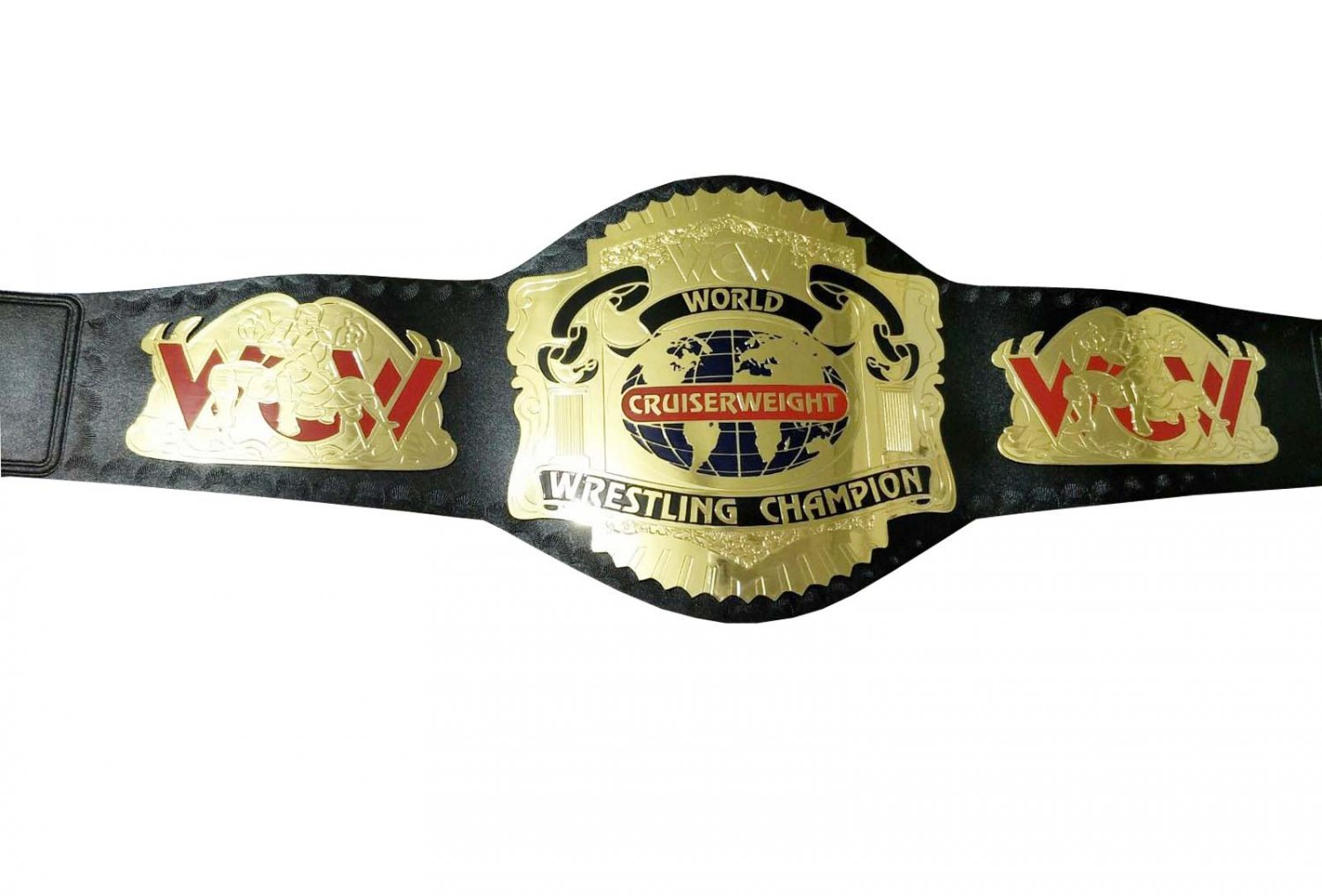 WCW WORLD CRUISERWEIGHT WRESTLING CHAMPIONSHIP BELT BLACK LEATHER STRAP