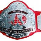 NWA TAG TEAM WORLD CHAMPION WRESTLING CHAMPIONSHIP BELT RED LEATHER STRAP ADULT SIZE