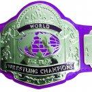 NWA TAG TEAM WORLD CHAMPION WRESTLING CHAMPIONSHIP BELT PURPLE LEATHER STRAP ADULT SIZE