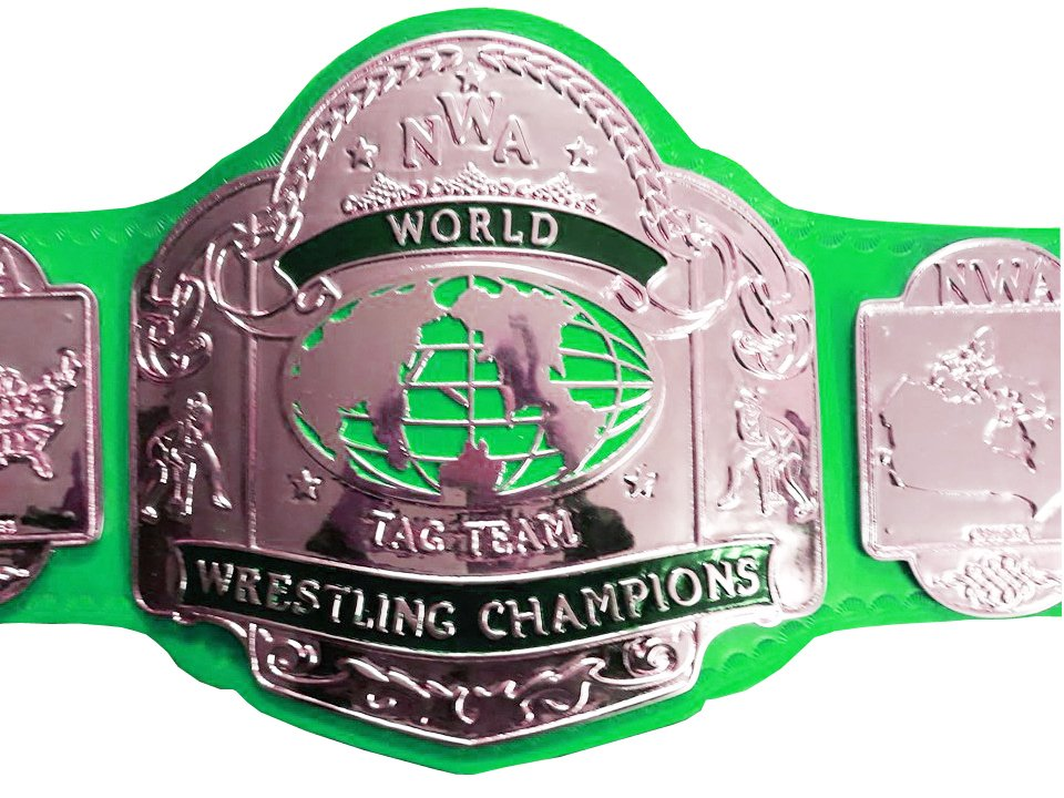 NWA TAG TEAM WORLD CHAMPION WRESTLING CHAMPIONSHIP BELT GREEN LEATHER STRAP ADULT SIZE