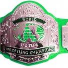 NWA TAG TEAM WORLD CHAMPION WRESTLING CHAMPIONSHIP BELT GREEN LEATHER STRAP ADULT SIZE