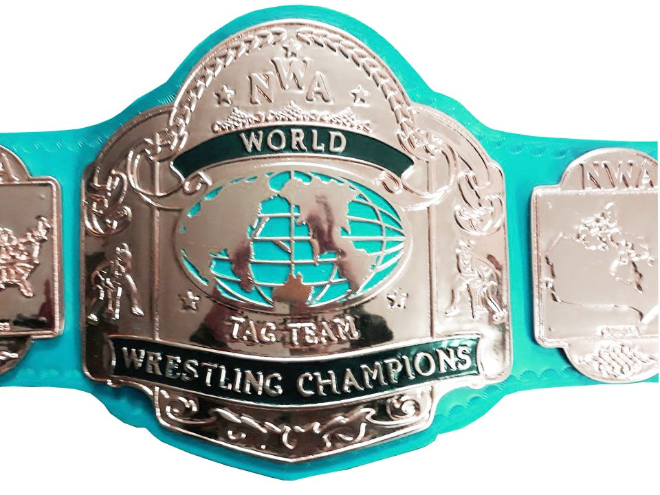 NWA TAG TEAM WORLD CHAMPION WRESTLING CHAMPIONSHIP BELT LIGHT BLUE LEATHER STRAP ADULT SIZE