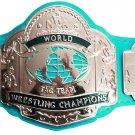 NWA TAG TEAM WORLD CHAMPION WRESTLING CHAMPIONSHIP BELT LIGHT BLUE LEATHER STRAP ADULT SIZE
