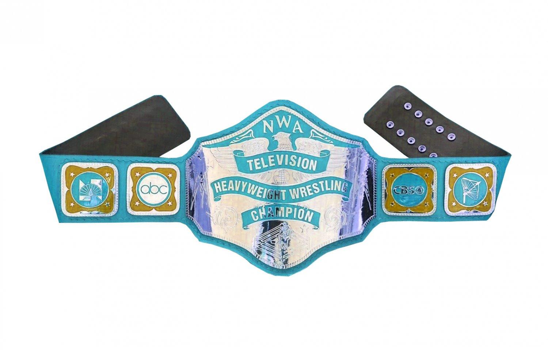 NWA TELEVISION HEAVYWEIGHT WRESTLING CHAMPIONSHIP BELT LIGHT BLUE LEATHER STRAP ADULT SIZE