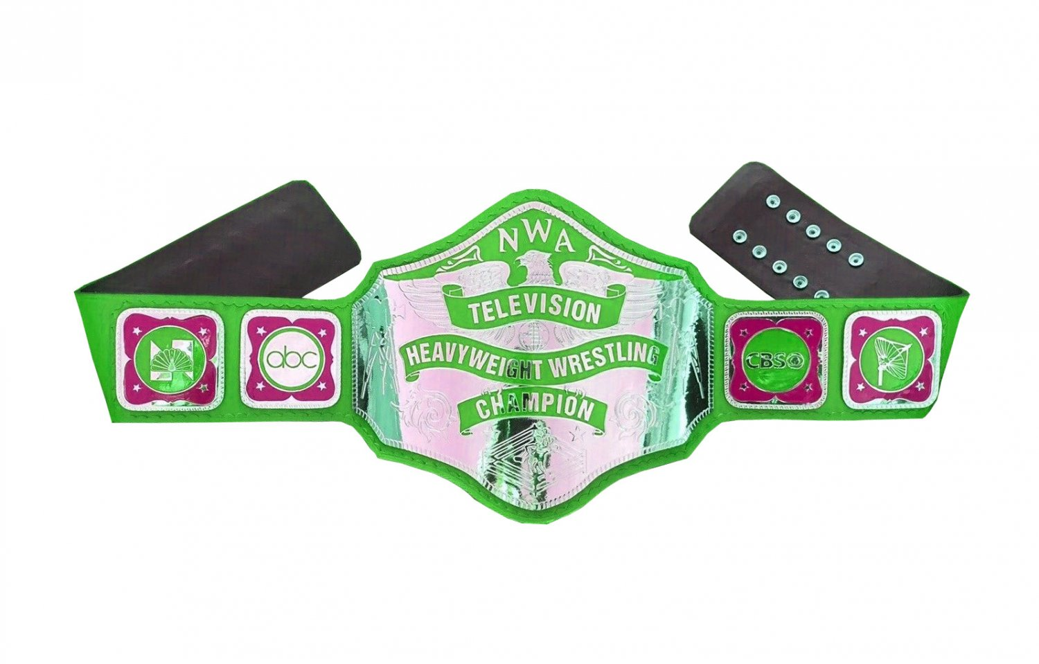 NWA TELEVISION HEAVYWEIGHT WRESTLING CHAMPIONSHIP GREEN LEATHER STRAP ADULT SIZE