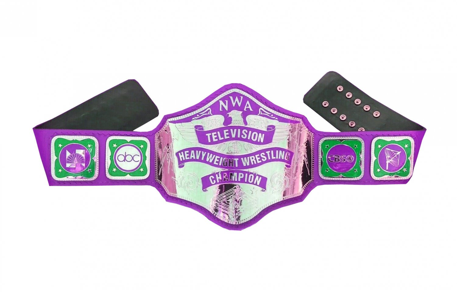 NWA TELEVISION HEAVYWEIGHT WRESTLING CHAMPIONSHIP PURPLE LEATHER STRAP ADULT SIZE
