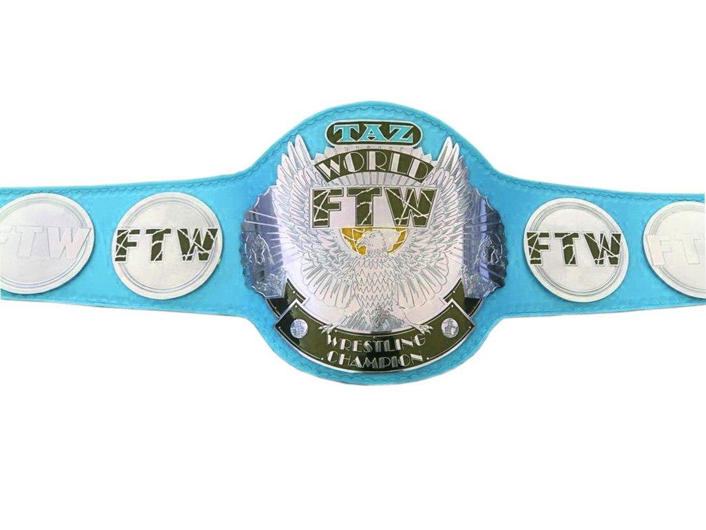 FTW TAZ WORLD WRESTLING CHAMPIONSHIP BELT LIGHT BLUE LEATHER STRAP ADULT SIZE