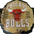 CHICAGO BULLS WRESTLING CHAMPIONSHIP BELT ZINC PLATED BLACK LEATHER STRAP ADULT SIZE