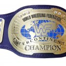 INTERCONTINENTAL BLOCK LOGO IC OVAL WRESTLING CHAMPIONSHIP BELT BLACK LEATHER STRAP ADULT SIZE