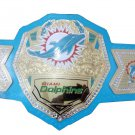 MIAMI DOLPHIN WRESTLING CHAMPIONSHIP BELT BLUE LEATHER STRAP ADULT SIZE