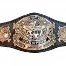 UNDISPUTED WRESTLING CHAMPIONSHIP BELT BLACK LEATHER STRAP ADULT SIZE