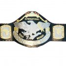 INTERNATIONAL HEAVYWEIGHT WRESTLING CHAMPIONSHIP BELT BLACK LEATHER STRAP ADULT SIZE