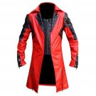 New Men's Traditional Coat Gothic Style Fashion Red Leather Jacket Size M