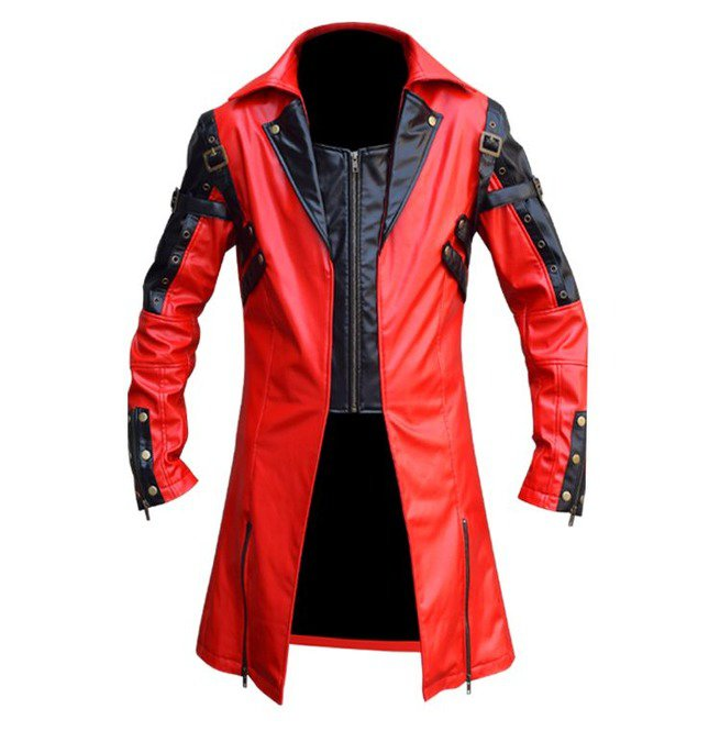 New Men's Traditional Coat Gothic Style Fashion Red Leather Jacket Size L