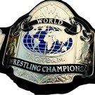 NWA TAG TEAM WORLD CHAMPION WRESTLING CHAMPIONSHIP BELT BLACK LEATHER STRAP ADULT SIZE