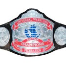 UNIVERSAL TAG TEAM CHAMPION WRESTLING CHAMPIONSHIP BELT BLACK LEATHER STRAP ADULT SIZE