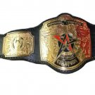PROFESSIONAL WRESTLING  HEAVYWEIGHT CHAMPIONSHIP BELT BLACK LEATHER STRAP ADULT SIZE