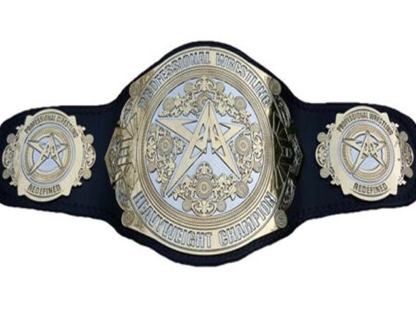 PROFESSIONAL WRESTLING  HEAVYWEIGHT CHAMPIONSHIP BELT BLACK DUAL PLATED LEATHER STRAP ADULT SIZE