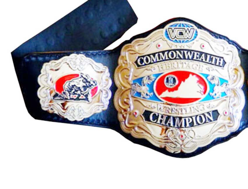 VCW COMMONWEALTH CHAMPIONSHIP WRESTLING BELT BLACK LEATHER STRAP ADULT SIZE