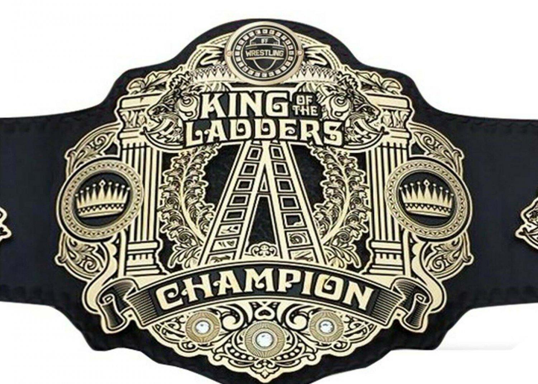 KING OF THE LADDERS CHAMPIONSHIP WRESTLING BELT BLACK LEATHER STRAP ADULT SIZE